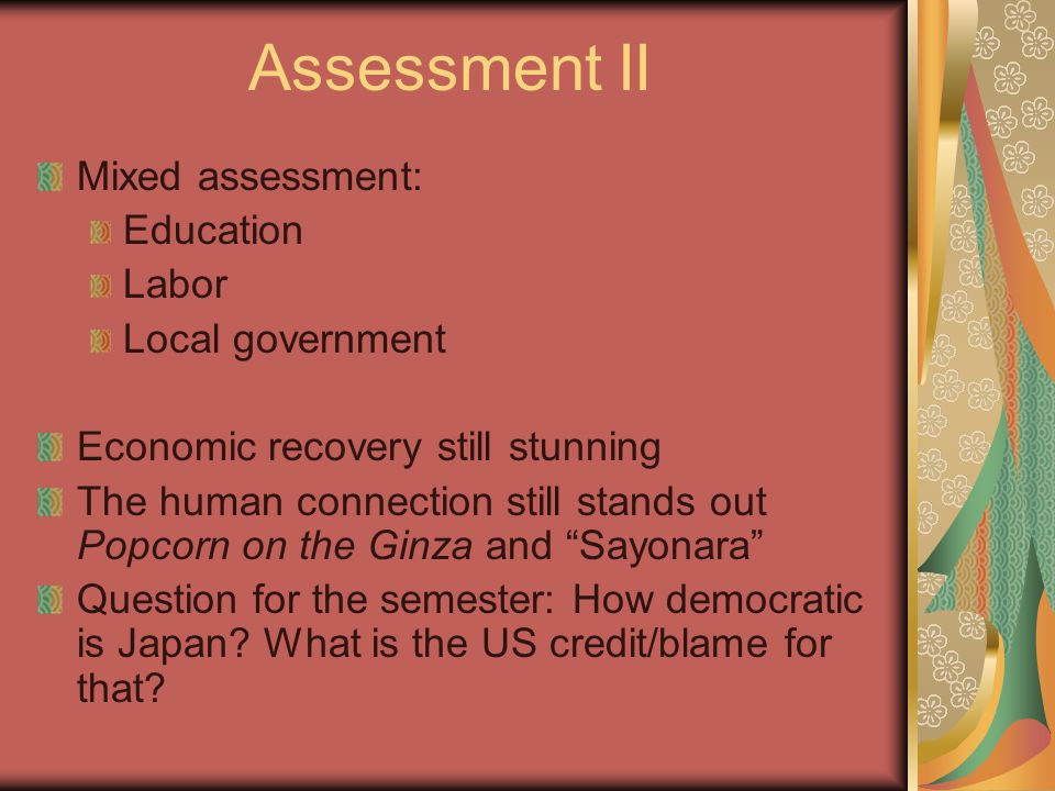 Assessment II Mixed assessment: Education Labor Local government