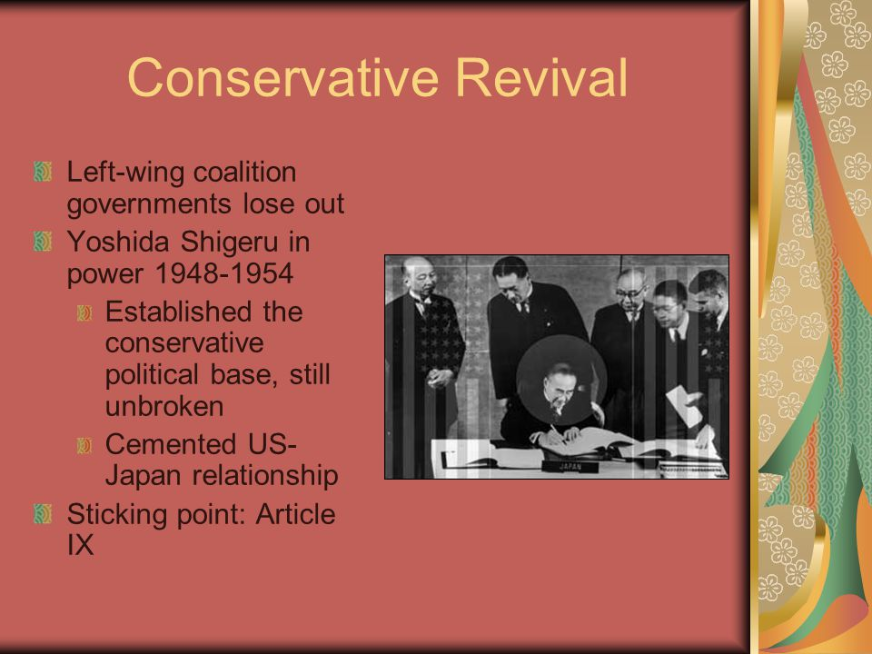 Conservative Revival Left-wing coalition governments lose out