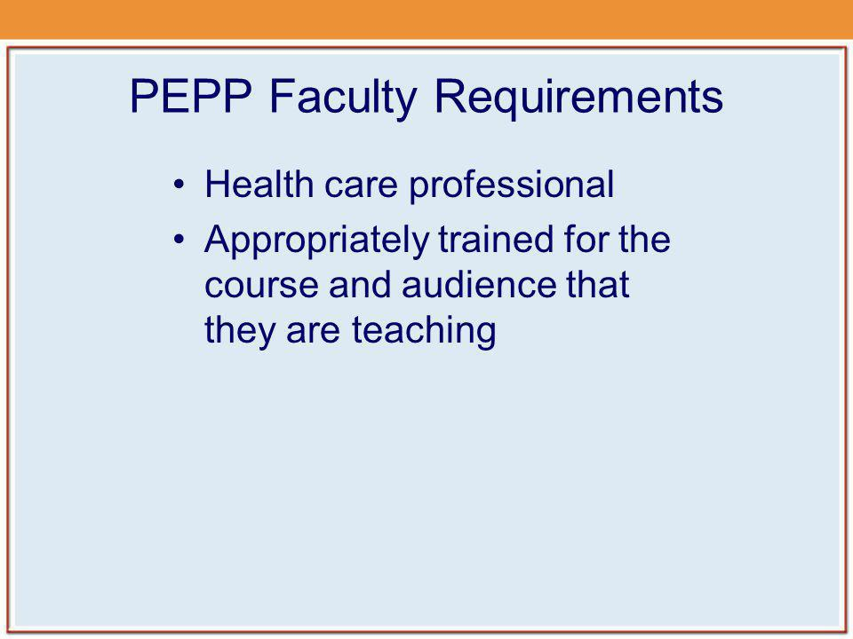 PEPP Faculty Requirements