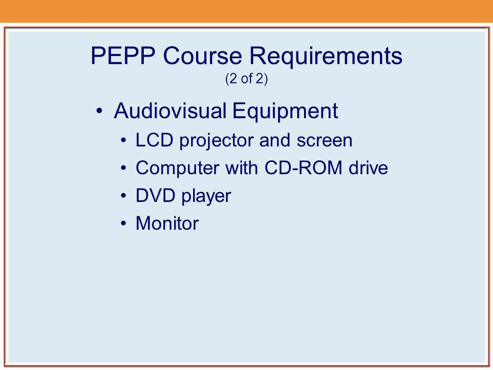 PEPP Course Requirements (2 of 2)