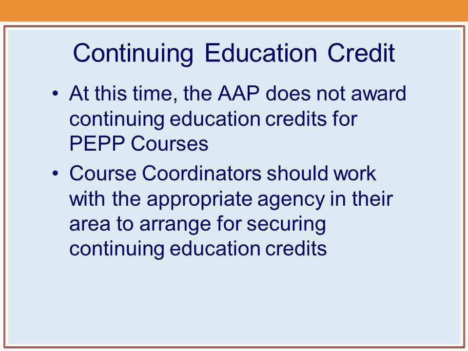 Continuing Education Credit