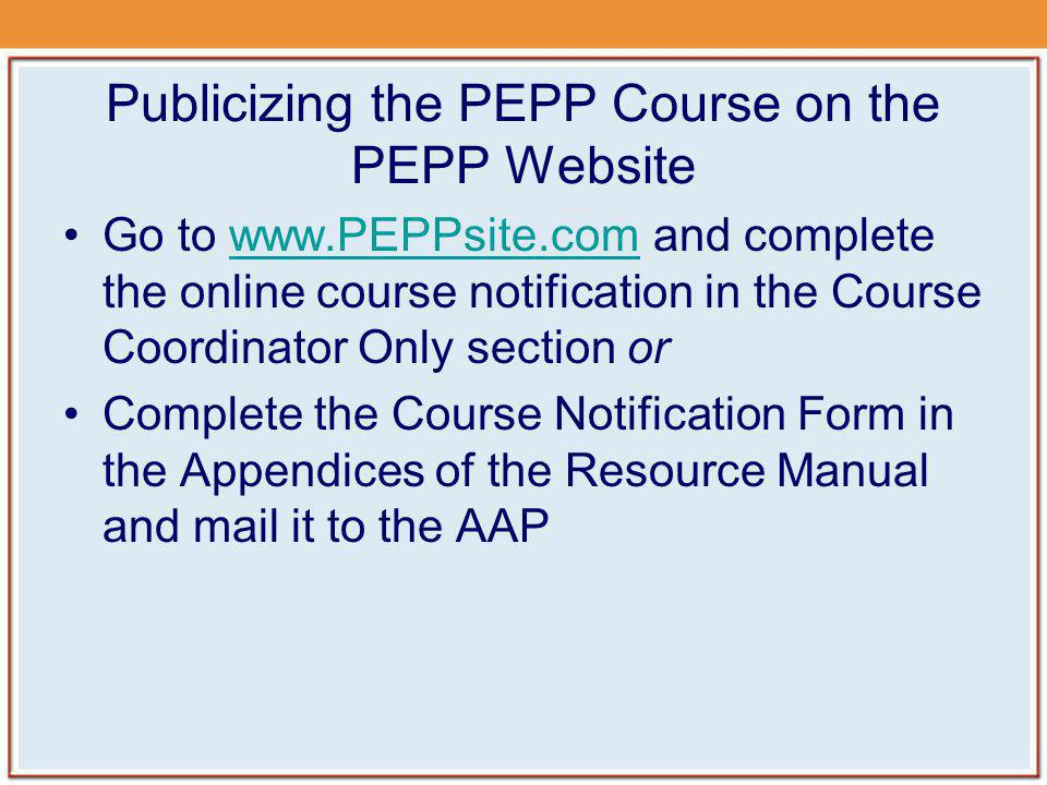 Publicizing the PEPP Course on the PEPP Website