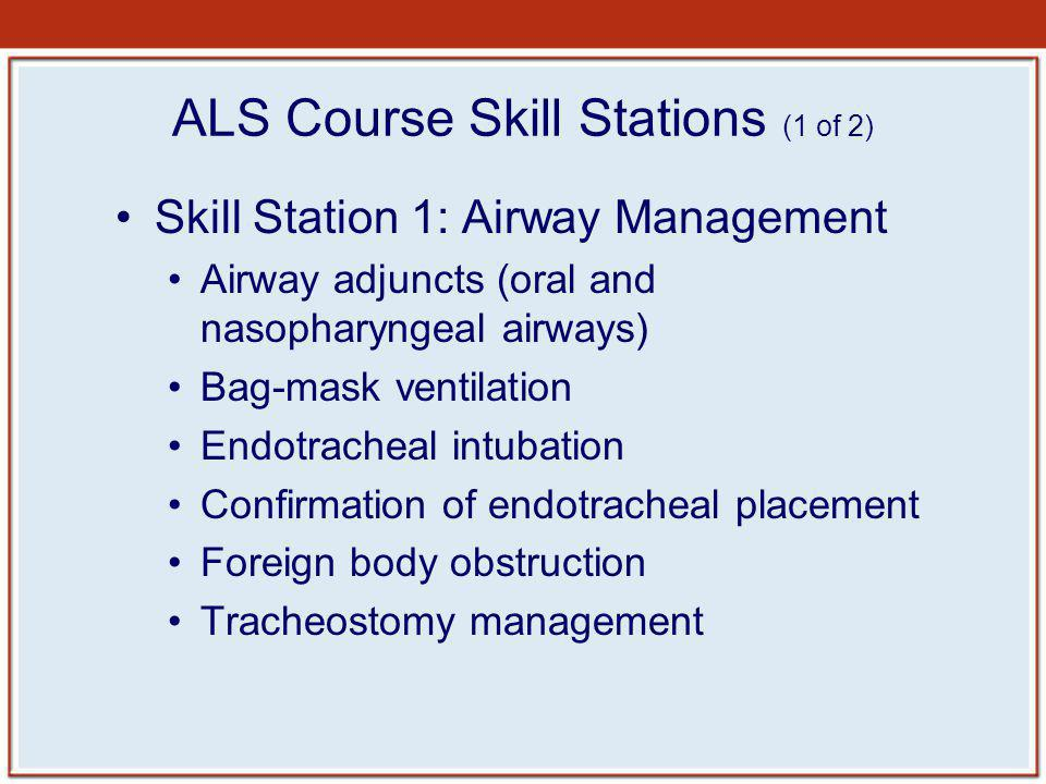 ALS Course Skill Stations (1 of 2)
