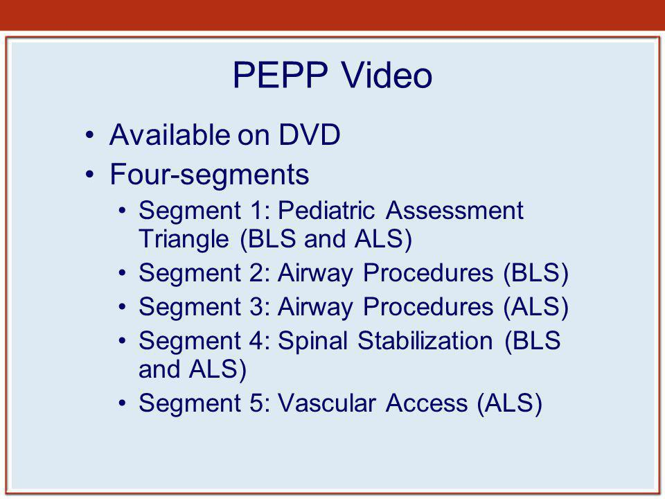 PEPP Video Available on DVD Four-segments