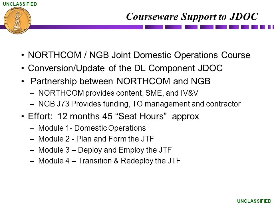 Courseware Support to JDOC