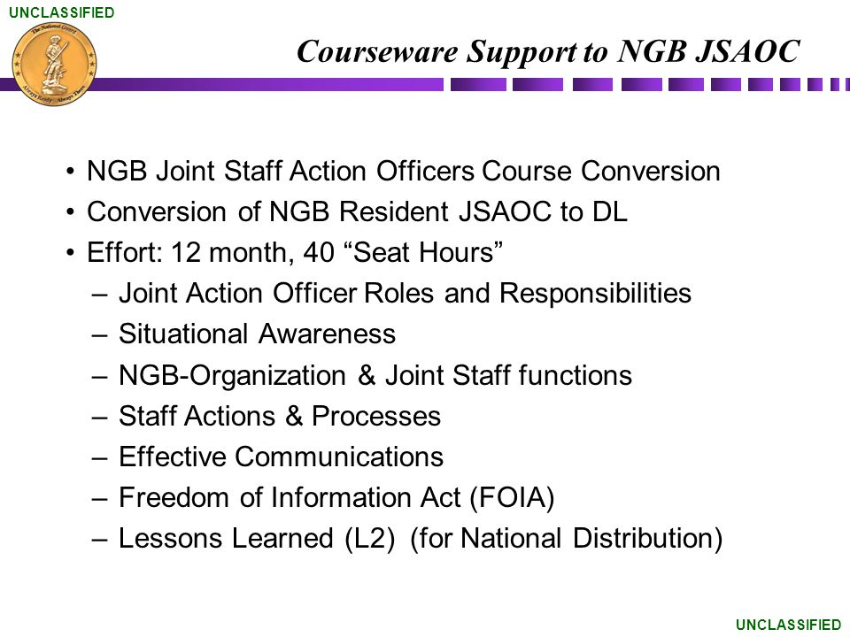 Courseware Support to NGB JSAOC