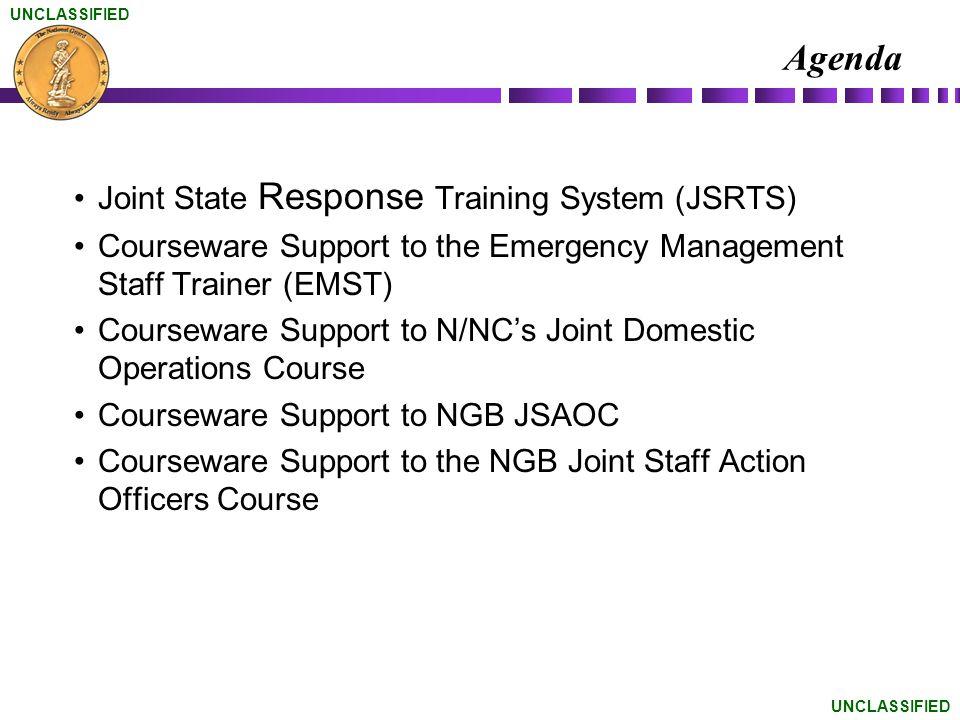 Agenda Joint State Response Training System (JSRTS)
