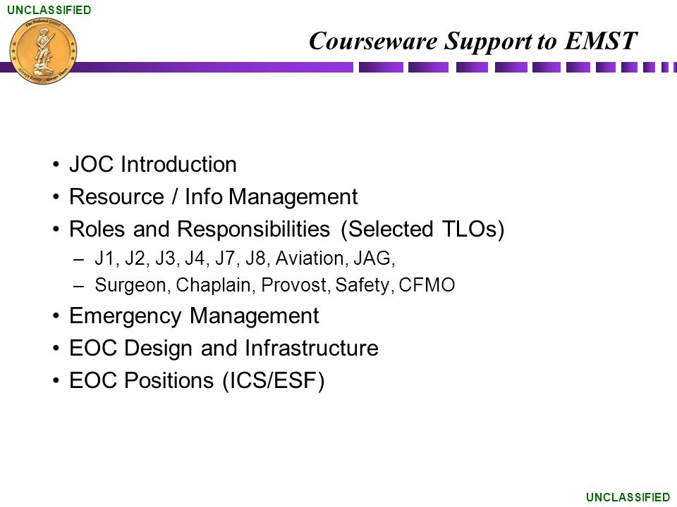Courseware Support to EMST