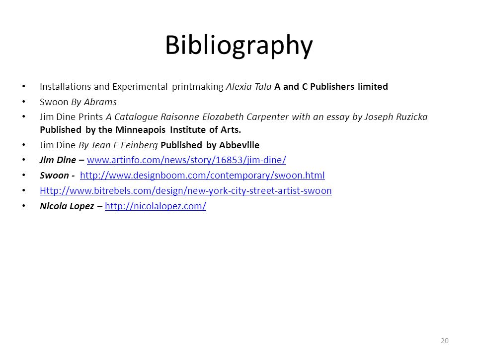 Bibliography Installations and Experimental printmaking Alexia Tala A and C Publishers limited. Swoon By Abrams.