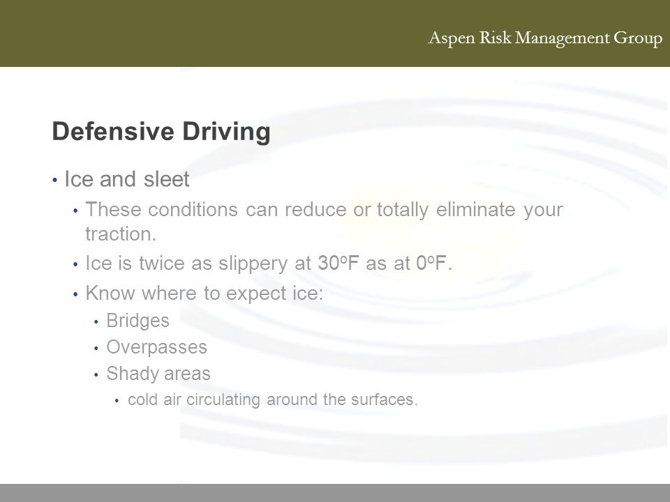 Defensive Driving Ice and sleet