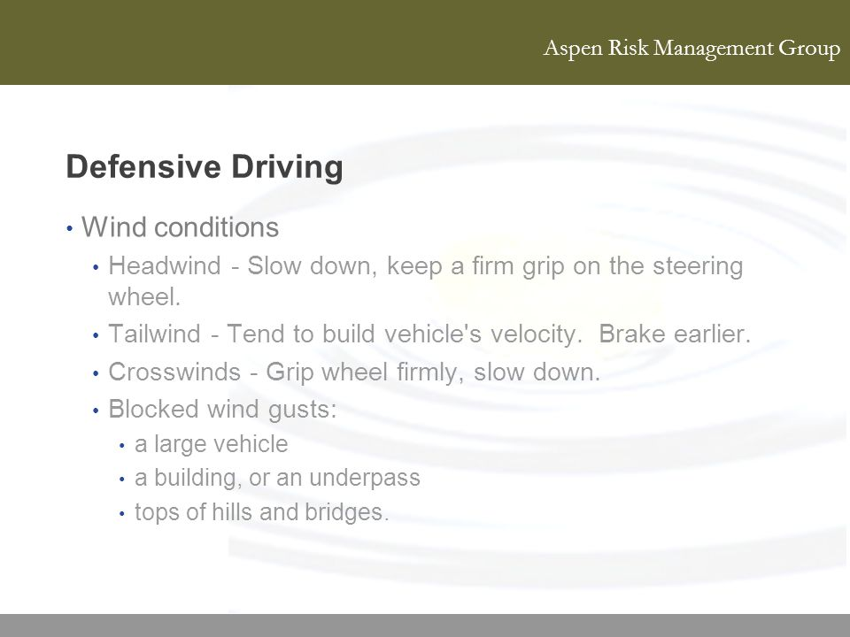 Defensive Driving Wind conditions