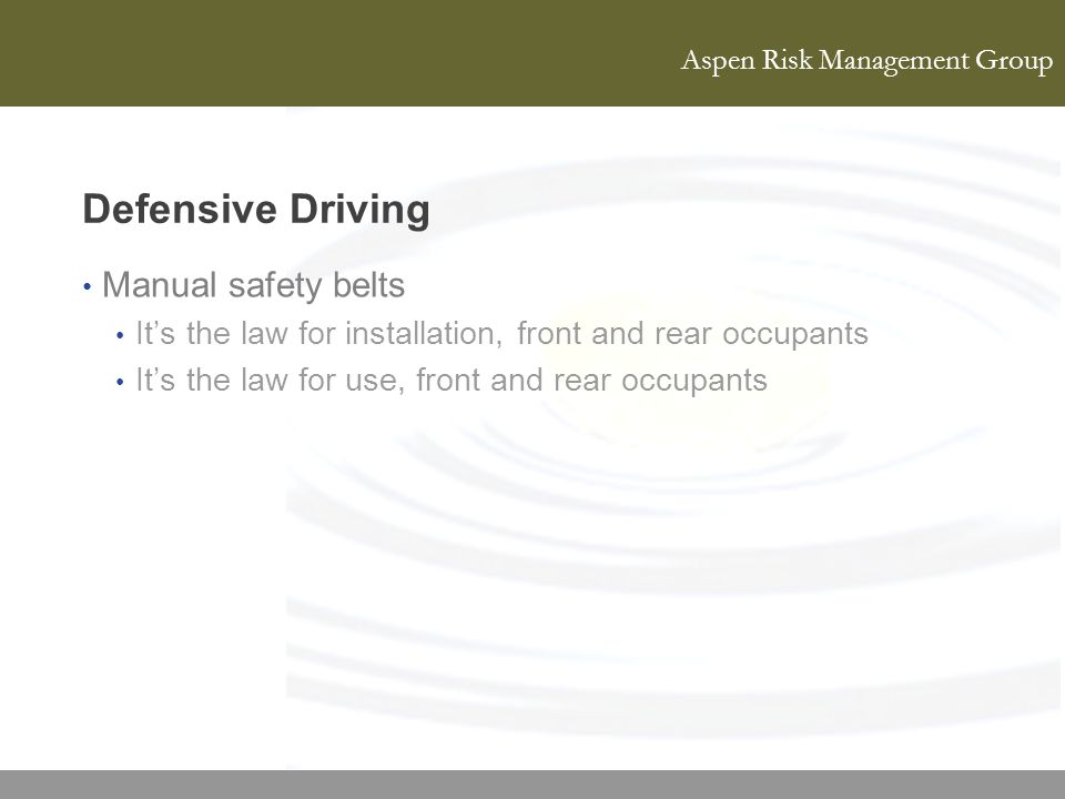 Defensive Driving Manual safety belts