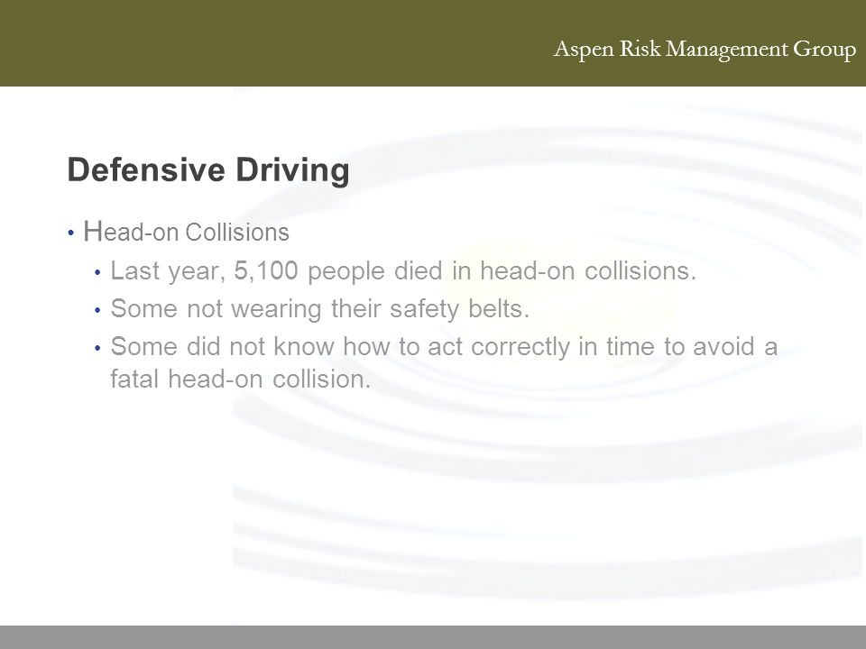 Defensive Driving Head-on Collisions