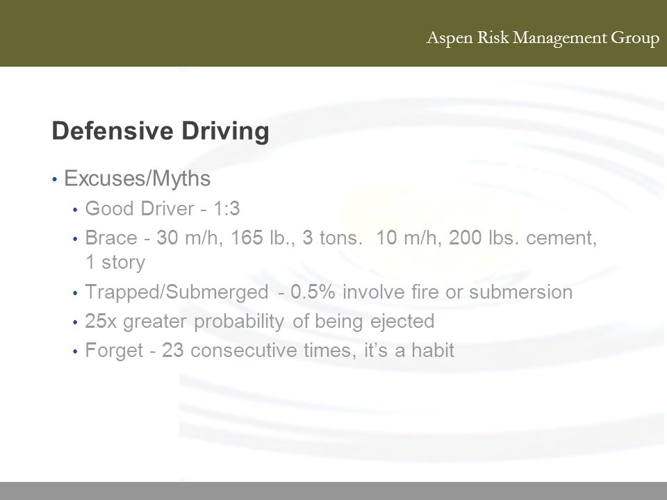Defensive Driving Excuses/Myths Good Driver - 1:3