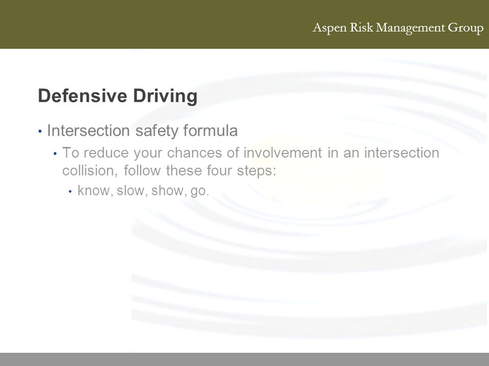 Defensive Driving Intersection safety formula