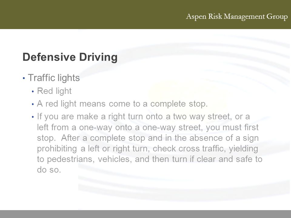 Defensive Driving Traffic lights Red light