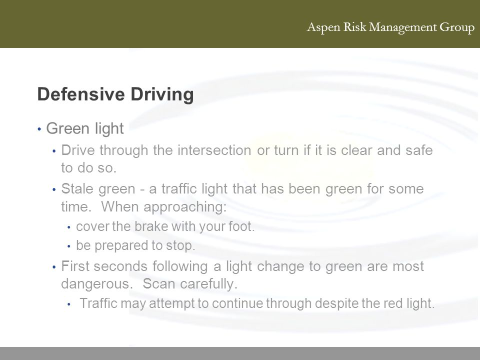 Defensive Driving Green light