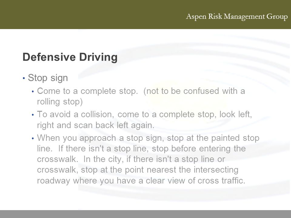 Defensive Driving Stop sign