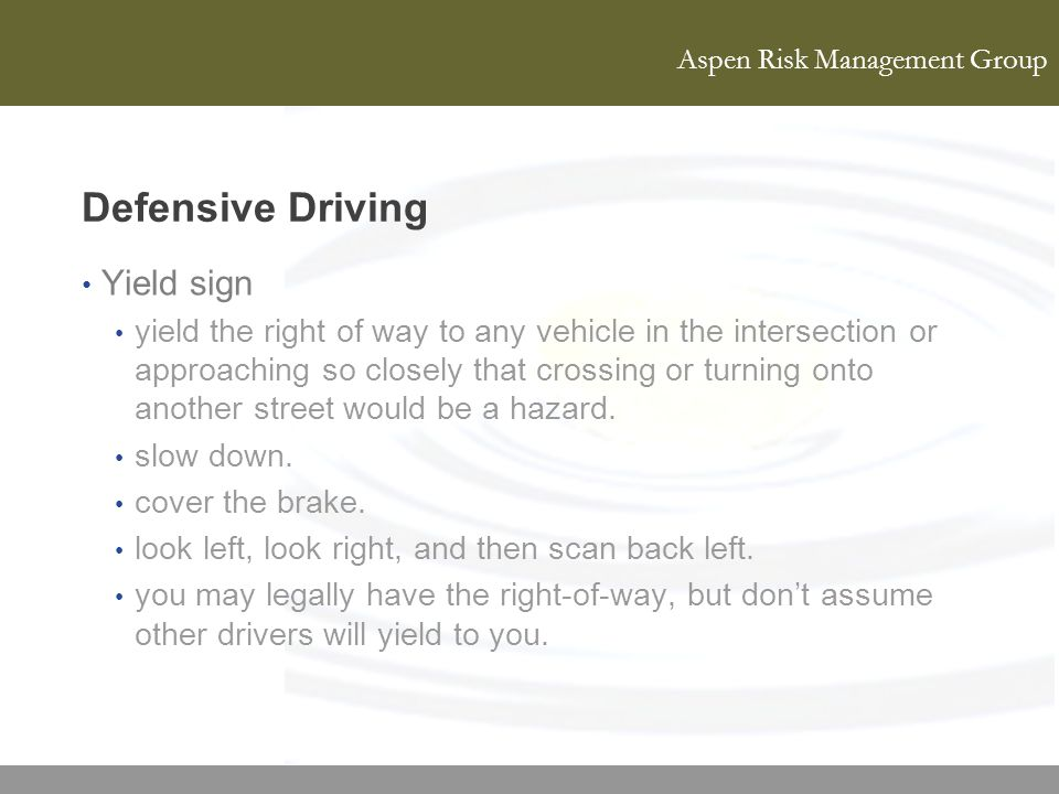 Defensive Driving Yield sign
