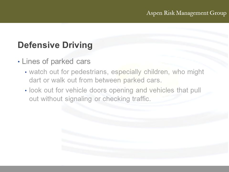 Defensive Driving Lines of parked cars