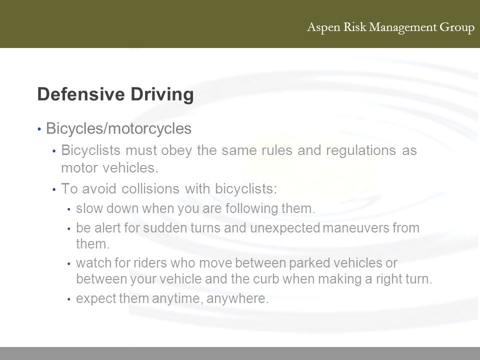 Defensive Driving Bicycles/motorcycles