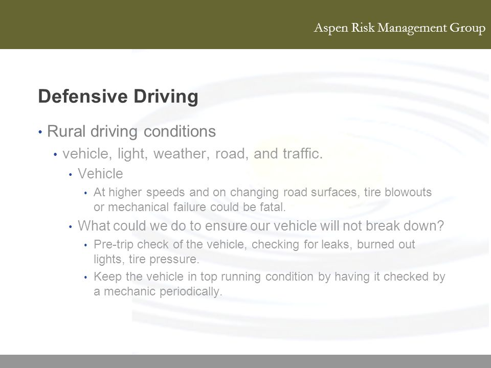 Defensive Driving Rural driving conditions