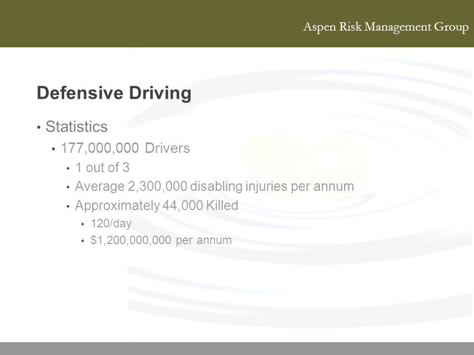 Defensive Driving Statistics 177,000,000 Drivers 1 out of 3