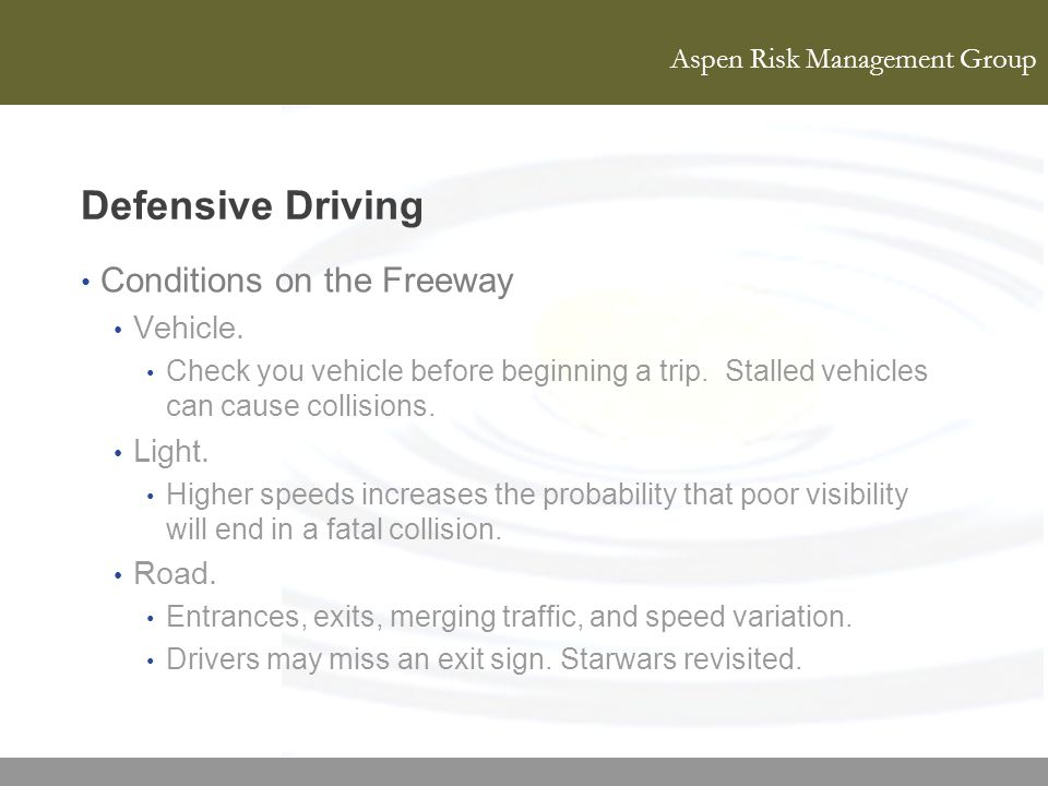 Defensive Driving Conditions on the Freeway Vehicle. Light. Road.