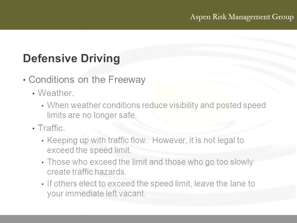 Defensive Driving Conditions on the Freeway Weather. Traffic.