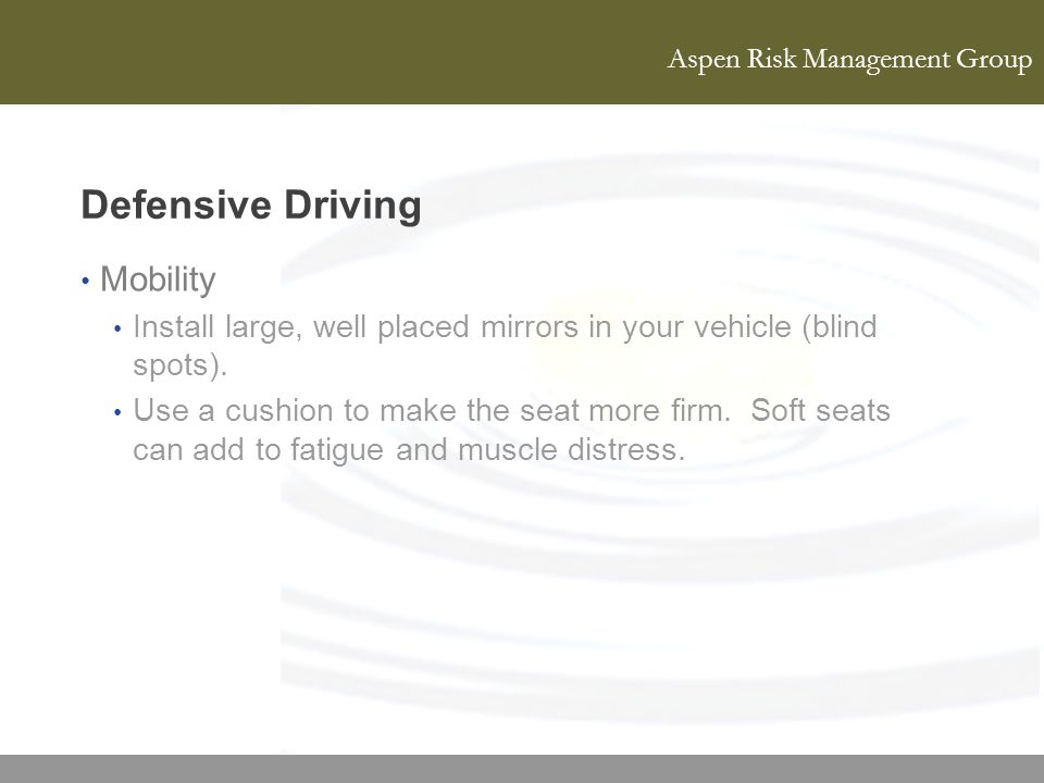 Defensive Driving Mobility