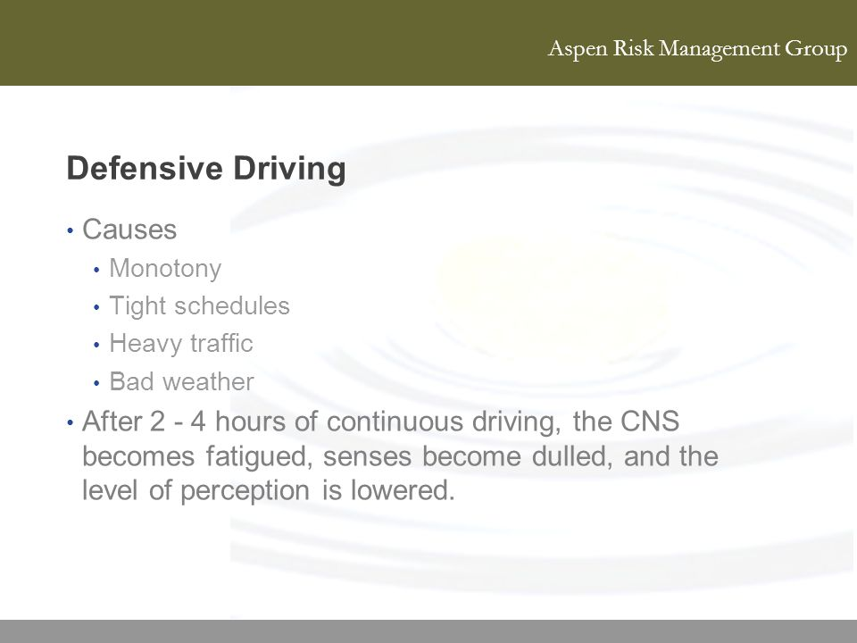 Defensive Driving Causes