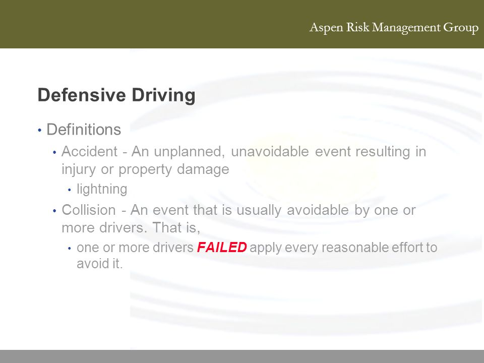 Defensive Driving Definitions
