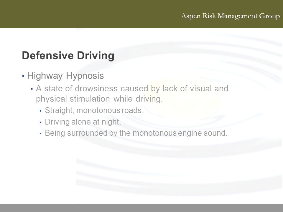 Defensive Driving Highway Hypnosis