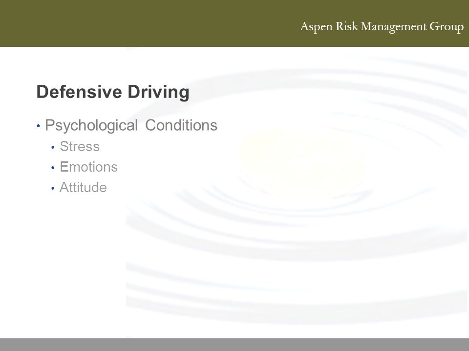 Defensive Driving Psychological Conditions Stress Emotions Attitude