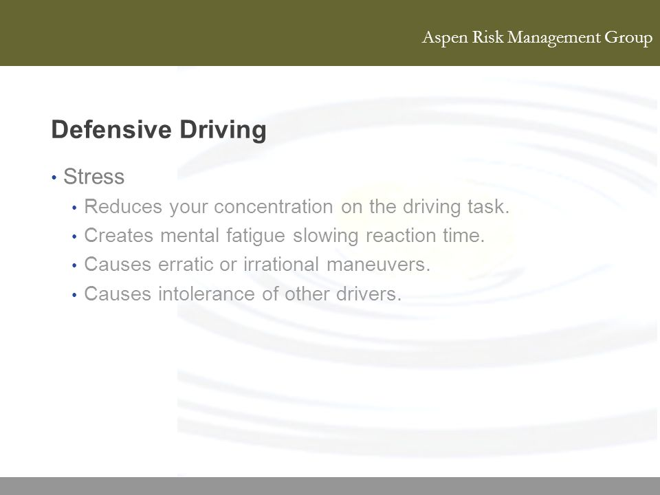 Defensive Driving Stress