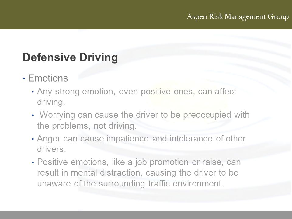 Defensive Driving Emotions