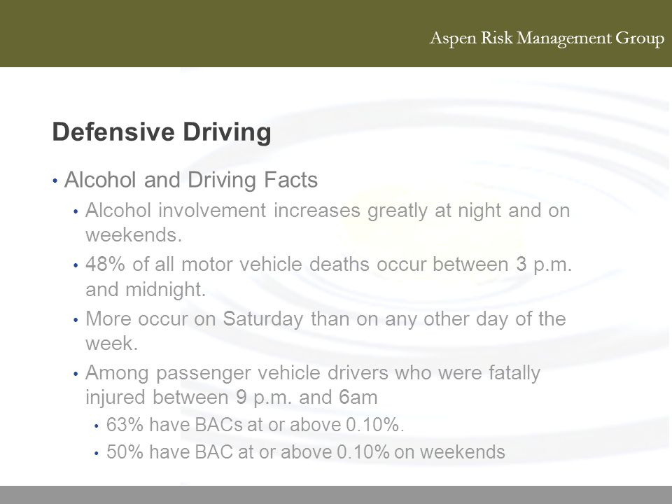 Defensive Driving Alcohol and Driving Facts