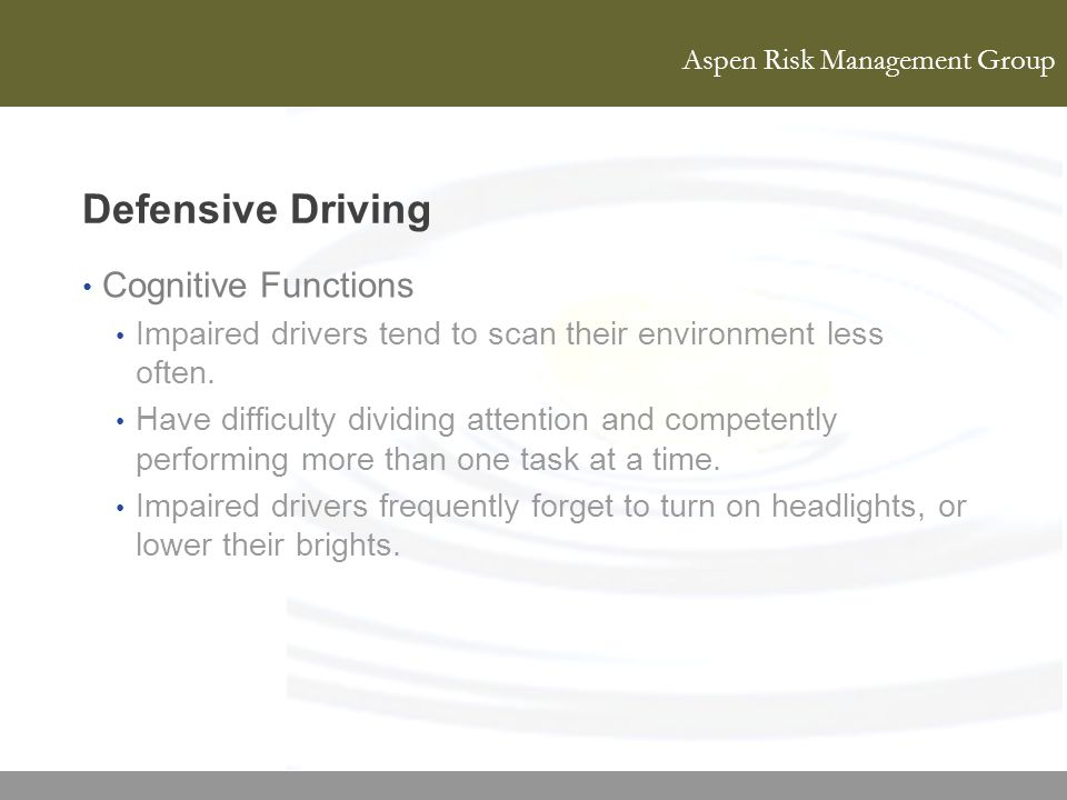 Defensive Driving Cognitive Functions