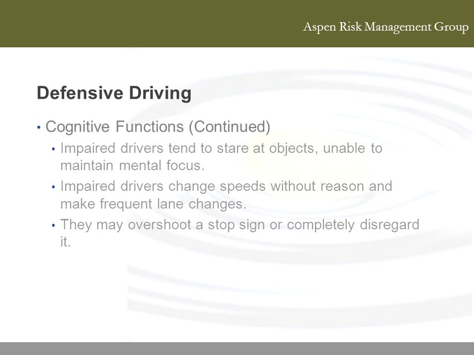 Defensive Driving Cognitive Functions (Continued)