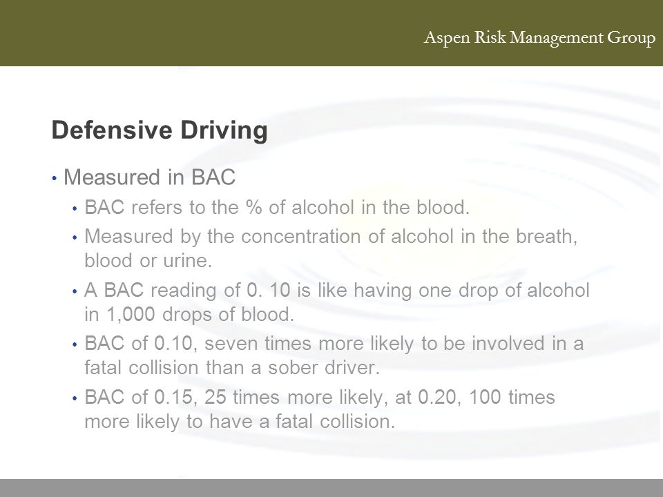 Defensive Driving Measured in BAC
