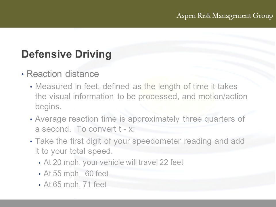 Defensive Driving Reaction distance
