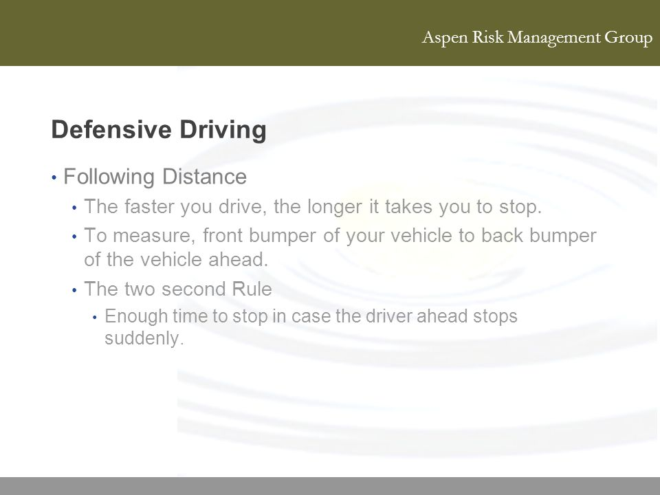 Defensive Driving Following Distance