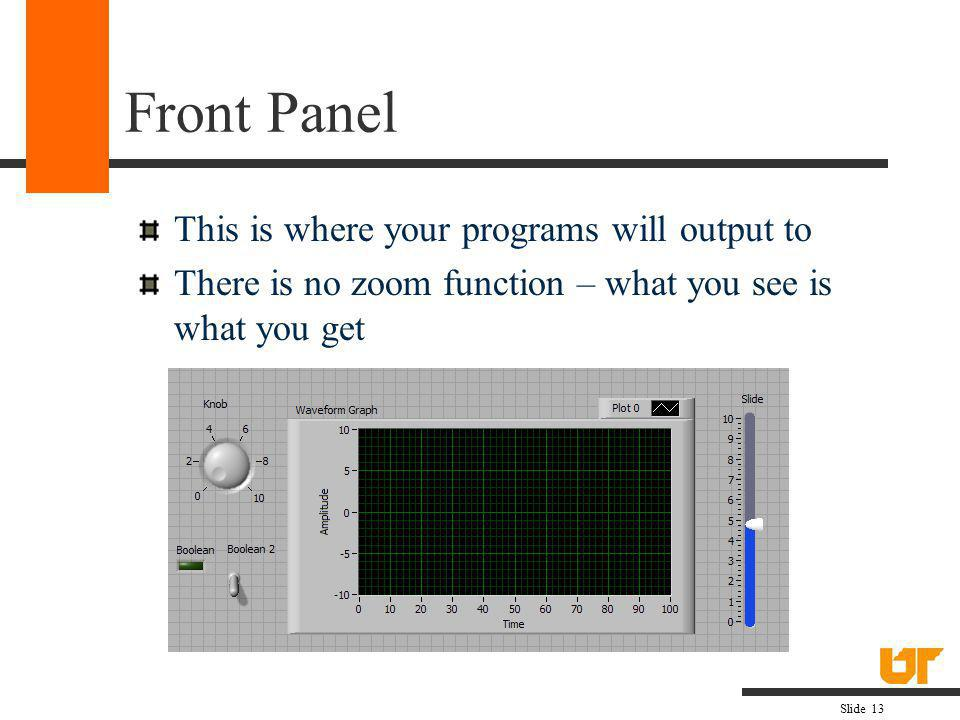 Front Panel This is where your programs will output to
