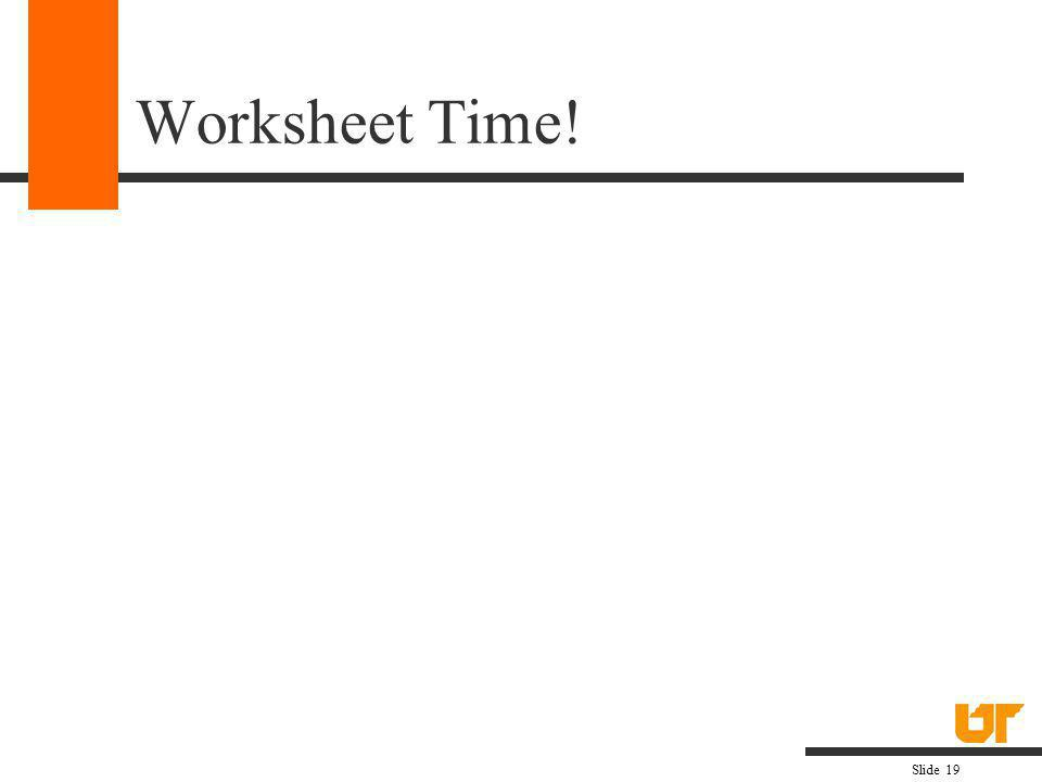 Worksheet Time!