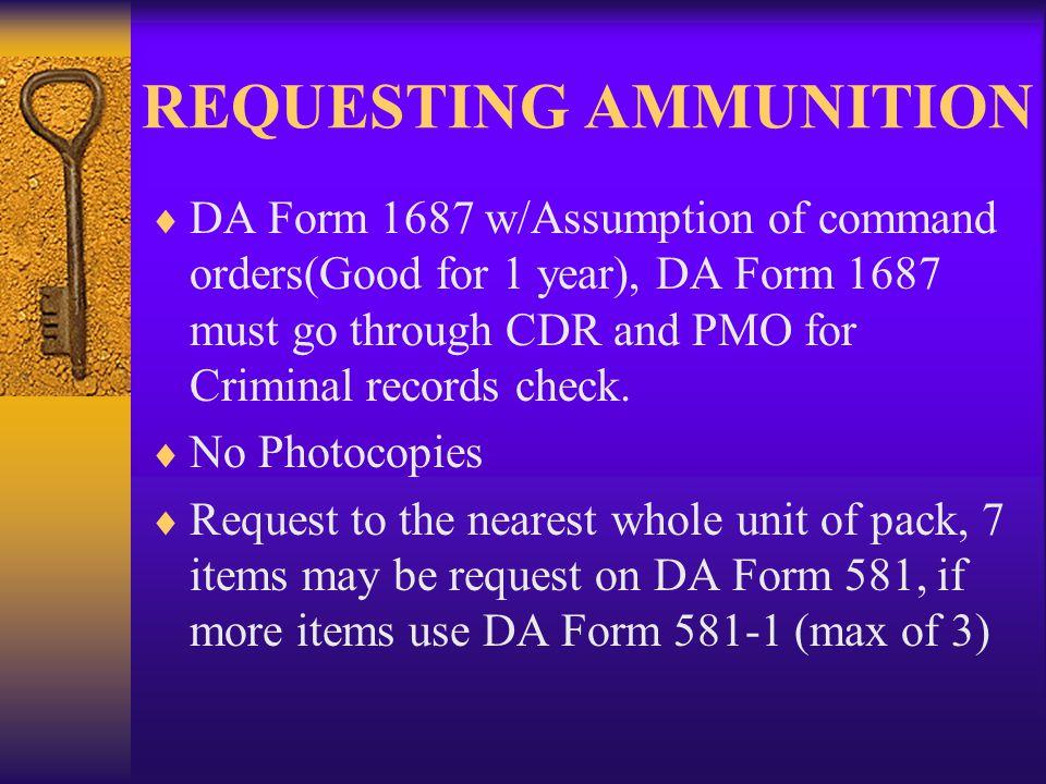 REQUESTING AMMUNITION