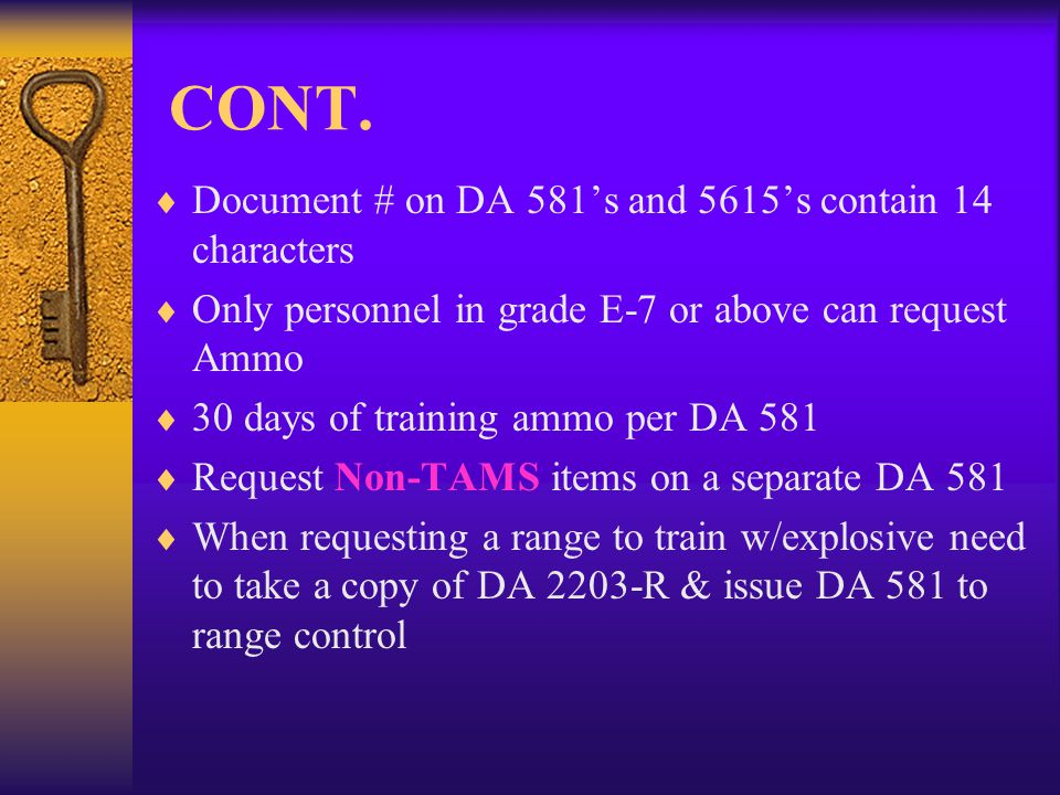 CONT. Document # on DA 581's and 5615's contain 14 characters