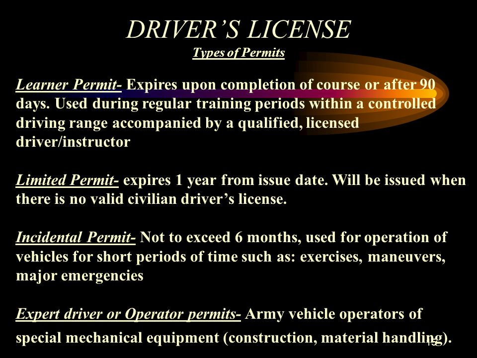 DRIVER'S LICENSE Types of Permits