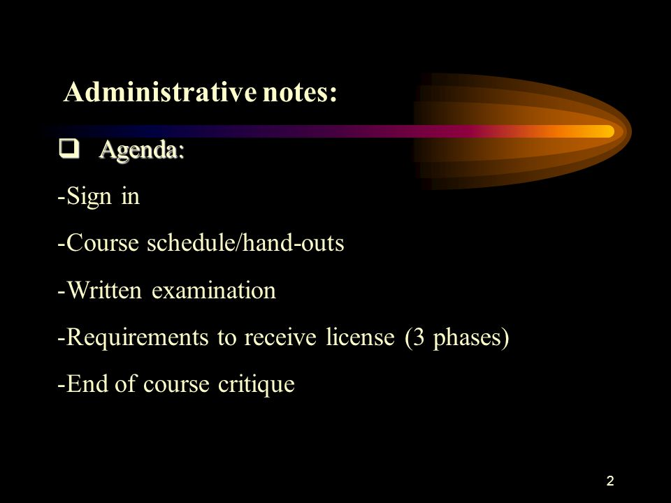 Administrative notes: