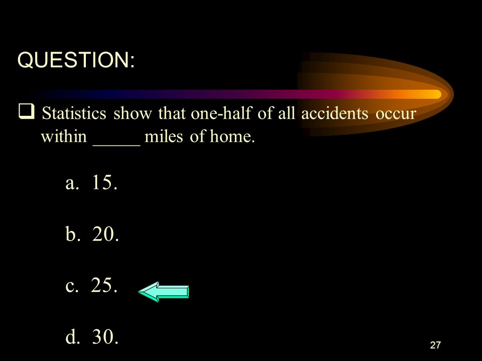 Statistics show that one-half of all accidents occur