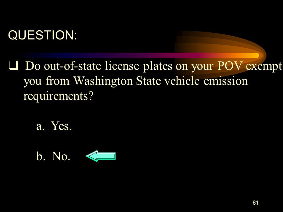 QUESTION: Do out-of-state license plates on your POV exempt. you from Washington State vehicle emission.
